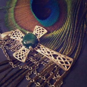 Jewelry - 2/$28 Malachite Sterling Silver Cross & Chain 20in